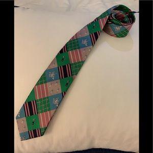 Lilly Pulitzer Men's Tie silk, vintage gold print